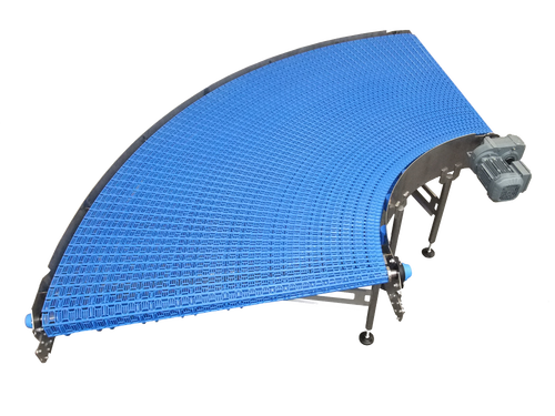 """CURVED CONVEYOR WITH OPEN """"EASY TO CLEAN"""" BELT"""